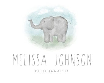 Hand Illustrated Photography Logo, Hand Drawn Elephant Logo, Elephant Logo, Newborn Photography Logo, Family Photography Logo 20156