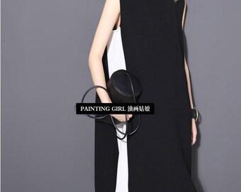 chiffon dress,summer dress,Sleeveless dress,black dress,sundress,fashion,loose,elegant,Simple  -Women Clothing 1805