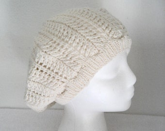 Slouchy White Hat, lacy pattern, hand knit hat, wool & acrylic, lacy beret, openwork pattern, knit lace hat, spring hat, tam for woman