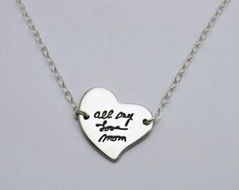 Silver Heart Handwriting Necklace, Handwriting Jewelry, Personalized Necklace, Silver Heart Necklace, Memorial Jewelry, Signature Jewelry