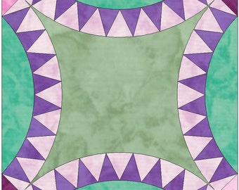 Double Pickle Dish 8 Points Wedding Ring Paper Templates Quilting Block Pattern PDF