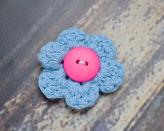 Flower Hair Accessory- Blue and Pink