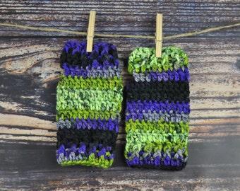 Wrist Warmers - Purple, Green and Black - Gloves