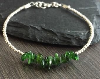 Chrome Diopside Bracelet, dainty stacking bracelet with green gemstone chrome diopside
