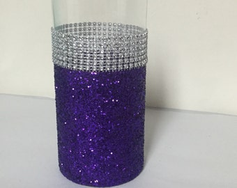 Wedding centerpiece, purple glitter vase, (1) vase, bridal bouquet holder, purple glitter, bling wedding, candle holder