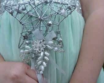 Bridesmaids wand - Flower girl wand - Snowflake wand - snoflake wedding - winter wedding - star flowergirl wand - silver wand - Christmas