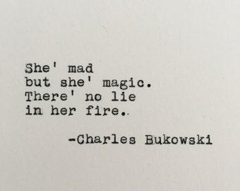 Charles Bukowski Love Quote Typed on Typewriter - 4x6 White Cardstock