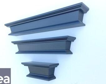 "Wood Wall Shelves – Featured Set (3"" Deep) – Wood Shelving – Lengths 8"", 16"", 22"""