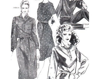 Stretch & Sew Sewing Pattern 1558 Tab Front Collection - Dress Blouse  Size:  28-44  Uncut