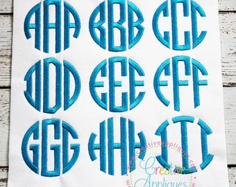 5 Sizes BX Natural Circle Embroidery Monogram Alphabet Font + 6 frames Digital Machine Embroidery. circle embroidery font, monogram font