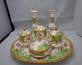 Rare Antique Coalport Batwing Green Dressing table set Rd 330781