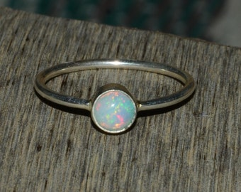 Ethiopian Opal Ring , Natural Opal Ring , 925 Sterling Silver Opal Ring , October Birthstone Ring ,Silver Welo Opal Ring