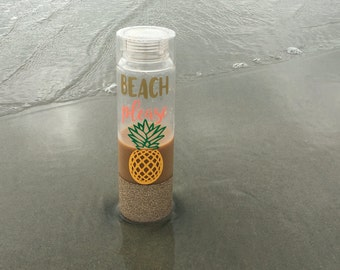 Beach Please Glitter Dipped Water Bottle