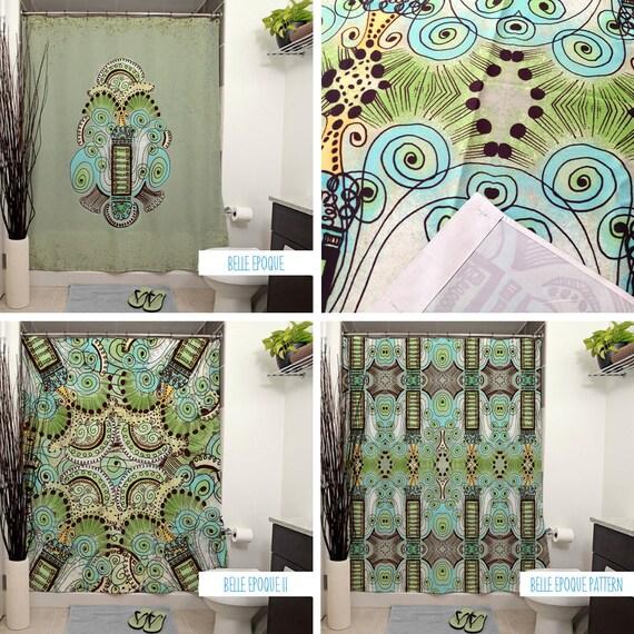 belle epoque pattern shower curtains art deco bathroom etsy. Black Bedroom Furniture Sets. Home Design Ideas
