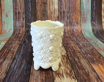 Daisy and Button Milk Glass Toothpick Holder