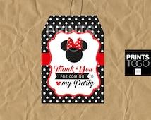 Minnie Mouse Thank You Tags, Polka Dots Minnie Mouse Favor Tags, Minnie Mouse Party, Party Favors, Red, Girl Invitation, Polka Dots Minnie