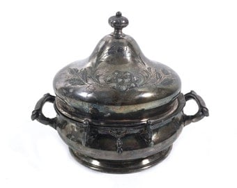 Antique Butter Dome in Quadruple Silverplate by Rockford Silver, Victorian Repousse Butter Dish