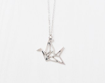 Silver Origami Crane Necklace | Paper Cut-out Crane | Antique Silver | Gift | Boho Jewelry