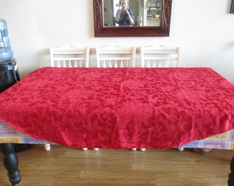 """Table Cloth - Poinsettia Motif -  Holly Motif - Cherry Red Colored -   in Very Good Condition - 90"""" Long by 70"""" Wide - Brocadish"""