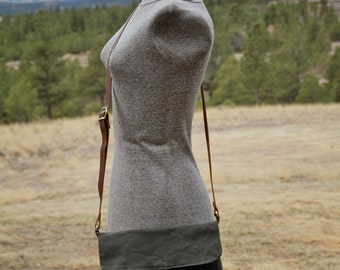 dark olive waxed canvas purse - waxed canvas tote - waxed canvas small messenger
