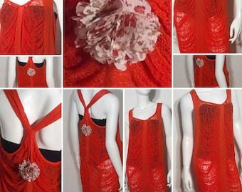 Red Waterfall Shred Art Dress