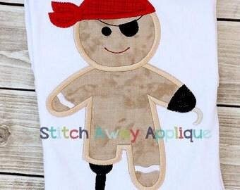 Pirate Gingerbread Christmas Machine Applique Design