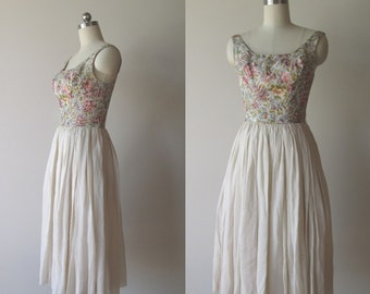 50s 60s Metalic Pastel Brocade And Chiffon Cocktail Dress By Gamine