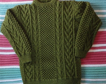 Olive Aran Sweater, hand-knit, acrylic yarn, Lady's size 38
