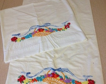 Set of Vintage Embroidered Pillowcases with Flower Basket