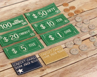 Learning Play Money Set ~ Bills, Coins & Credit Cards~ Pretend Money ~ Embroidered Money