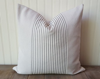 Ticking Stripe Pillow Cover , Canvas and Ticking Pillow , Farmhouse Pillow , Farmhouse Decor , Beach Decor , Gray Ticking Pillow