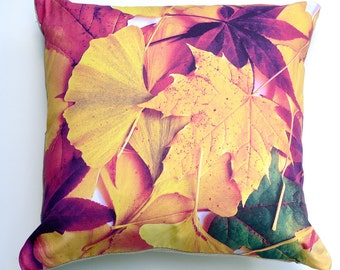 "SALE, Autumn Leaves Cushion Cover, 41 x 41cm / 16"" x 16"" Decorative Pillow Cover, Eco-friendly, Cotton Linen, Australian Made"