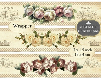 Roses Wrapper Soap Wrapping Flowers Garland Wraps Strips Printable Instant Download digital collage sheet E159