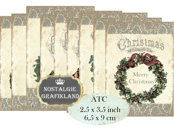 Christmas Wreath ATC Printable Instant Download digital collage sheet S160