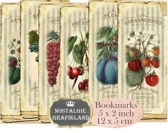 Fruit Bookmarks Instant Download digital collage sheet E129 Vintage Jam strawberries grapes marmelade cherries