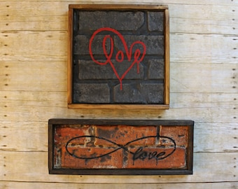 YOUR CHOICE LOVE Handmade Graffiti Brick Wall Art Work Theatre Theater Play Sign Salvaged One of a Kind Unique Upcycled Reclaimed Tattoo