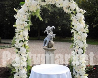 "90"" White Metal Arch Frame for Wedding Party Bridal Prom Event Garden Floral Decoration"