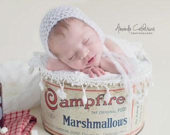 White Silk Mohair Newborn Bonnet