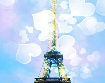 Eiffel Tower Decor, Paris Eiffel Tower Art Print, in Pastel Pink and Baby Blue, Paris, Girl's Room