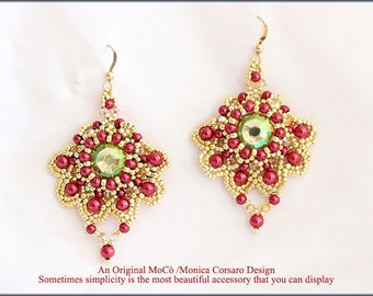 DIY Photo Tutorial eng-ITA *Izumi*earrings ,PDF Pattern 91 with Pearls,swarovski&seed beads,instructions,beadweaving