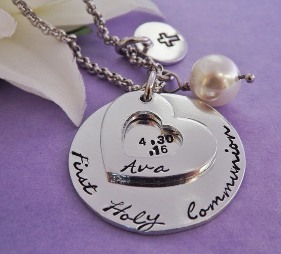 First Holy Communion Necklace Personalized By Purplebjewellery