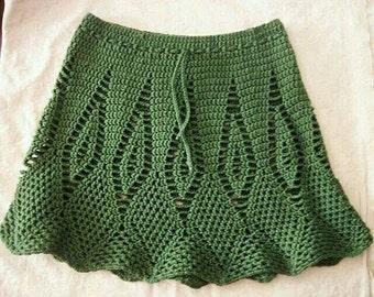 SALE! Bohemian Crochet Diamond Skirt - Choose Thyme Green or Black Licorice - Women's Medium - Drawstring Waist