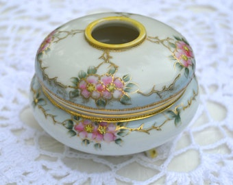 Nippon Porcelain Hand Painted Footed Hair Receiver
