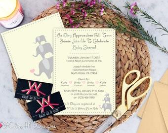 Custom Printable Baby Shower Invitation \\\ Elephant-Themed Baby Shower /// Custom Digital File