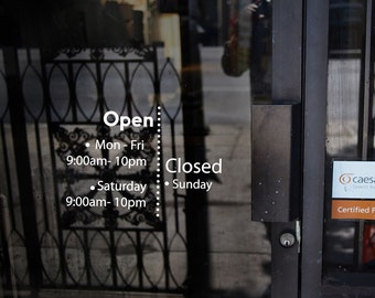 Simple Modern  business hours window decal/ Decal for shop,restaurant,office