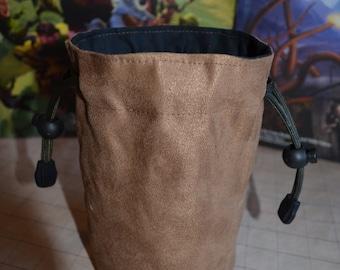 Dice Bag no Embroidery Suede Solid Color Light Brown suede