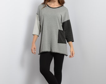 50% OFF Cameleon Mix Bamboo Jersey Knit Tunic Top 3/4 Sleeve   Black Charcoal Heather Gray   One Size   S M L   Made in MN USA