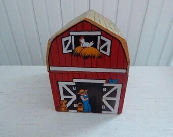 Enesco Wooden Red Barn Music Trinket Box - Hand Painted Barn Music Box with Sankyo Movements - Enesco Music Box c1980 - Works Beautifully!