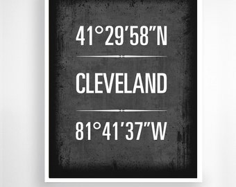 "Cleveland, Ohio, Geographic Coordinate Print,  8"" x 10"" or 11"" x14"""