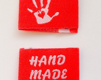 20 self-made handmade with love labels Web label 7 colors selectable - knitting label, fabric label, clothing label, Wovenlabel